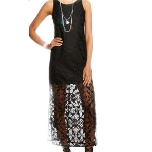 Black Maxi Dress With Lace Overlay